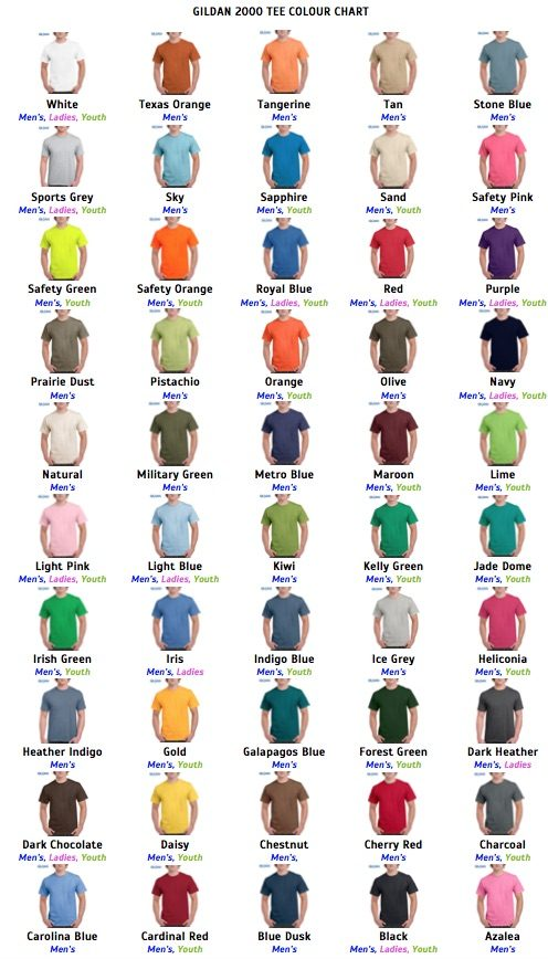 gildan-2000-tee-colour-chart