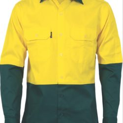 DNC Hi-Vis Two Tone 190gsm Cotton Drill L/S Shirt