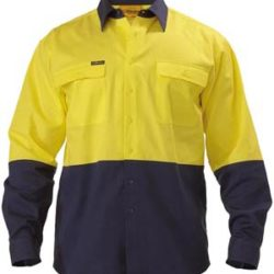 Bisley 2 Tone Hi-Vis 190gm Cotton Drill L/S Shirt