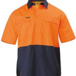 Bisley 2 Tone Hi-Vis Lightweight Mens Drill S/S Shirt