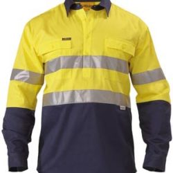 Bisley 2 Tone Closed Front Hi-Vis L/S 190gsm Shirt 3M Reflective Tape