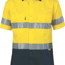 DNC Hi-Vis Two Tone 190gsm Drill S/S Shirt with 3M 8906 R/Tape