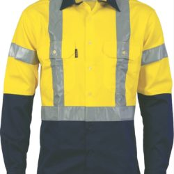 DNC Hi-Vis D/N 2 Tone Drill L/S Shirt with H Pattern CSR R/Tape