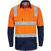 DNC Hi-Vis Two Tone Cool-Breeze Cotton L/S Shirt with Hoop & Shoulder CSR R/Tape