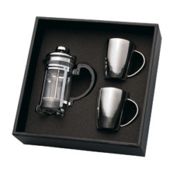 Coffee Plunger & 2 Stainless Steel Mugs