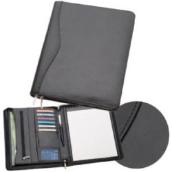 A4 Leather Zippered Compendium 884BK