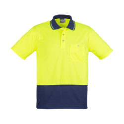 zh231-hi-vis-basic-spliced-short-sleeve-polo-yellow-navy