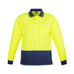 zh232-hi-vis-basic-spliced-long-sleeve-polo-yellow-navy