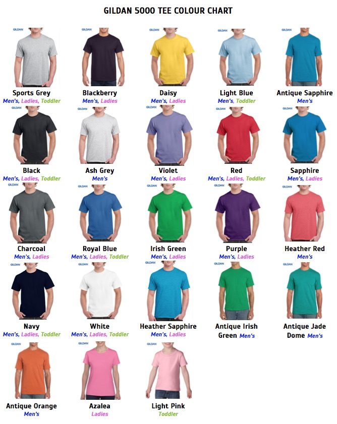 Gildan 5000 Tee Colour Chart Hype Promotions