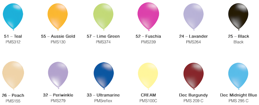 Decorator Balloon Colour Chart Hype Promotions