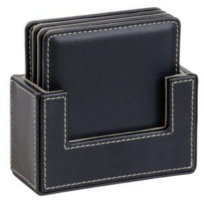 4 Piece Leather Look Coaster Set