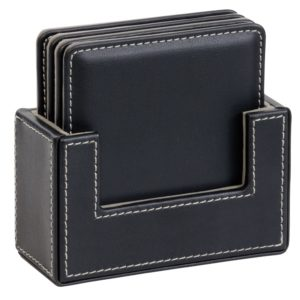4 Piece Leather Look Coaster Set