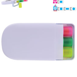 Set of 3 Retractable Wax Highlight Markers in White Case