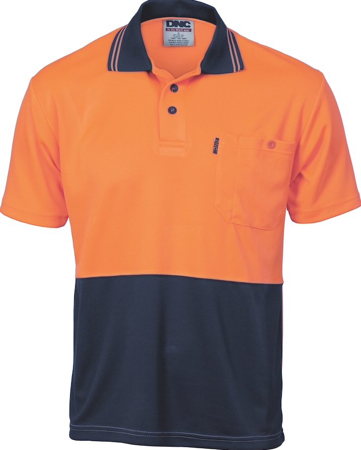 Dnc hi vis two tone cool breathe s s polo for Hi vis polo shirts with pocket