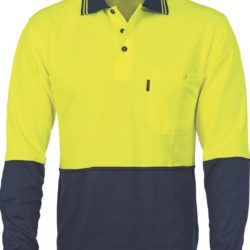 DNC Cotton Back Hi-Vis Two Tone Fluro L/S Polo