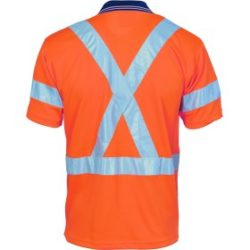 DNC Hi-Vis D/N Cool Breathe S/S Polo With Cross Back R/Tape