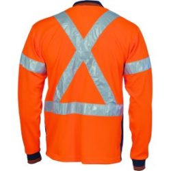 DNC Hi-Vis D/N Cool Breathe L/S Polo With Cross Back R/Tape