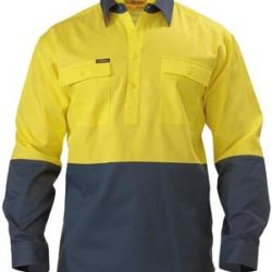 Bisley 2 Tone Closed Front Hi-Vis 190gm Cotton Drill L/S Shirt