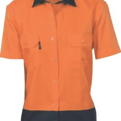 DNC Ladies Hi-Vis Two Tone 190gsm Cotton Drill S/S Shirt