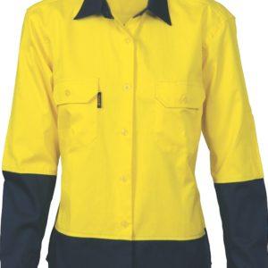 DNC Ladies Hi-Vis Two Tone 190gsm Cotton Drill L/S Shirt