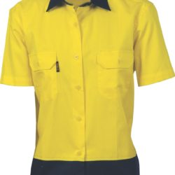 DNC Ladies Hi-Vis 2 Tone Cool-Breeze Cotton S/S Shirt