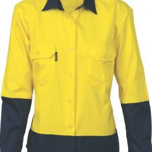 DNC Ladies Hi-Vis 2 Tone Cool-Breeze Cotton L/S Shirt