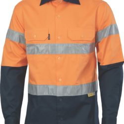 DNC Hi-Vis Two Tone 190gsm Drill L/S Shirt with 3M 8906 R/Tape