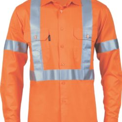 DNC Hi-Vis D/N 190gsm Cotton L/S Shirt with Cross Back CSR R/Tape