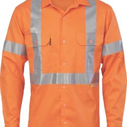 DNC Hi-Vis Cool-Breeze Cross Back Cotton L/S Shirt with 3M R/Tape