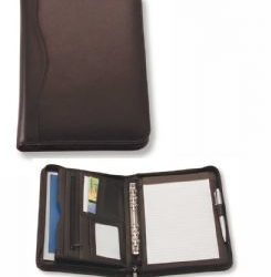 A5 Leather Zippered Compendium 885BK