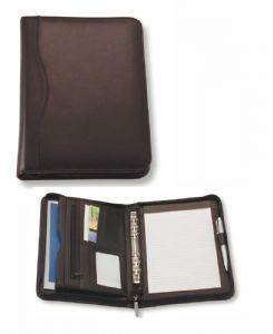 A5 Leather Zippered Compendium 885BK