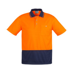 zh231-hi-vis-basic-spliced-short-sleeve-polo-orange-navy