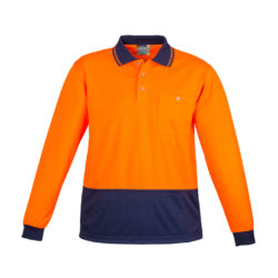 zh232-hi-vis-basic-spliced-long-sleeve-polo-orange-navy