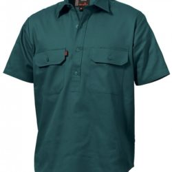 k04060-kinggee-closed-front-drill-ss-shirt-green