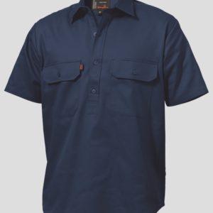 k04060-kinggee-closed-front-drill-ss-shirt-navy