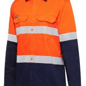k54025-kinggee-vented-spliced-drill-ls-shirt-with-tape-orange-navy-front