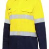 k54025-kinggee-vented-spliced-drill-ls-shirt-with-tape-yellow-navy-front