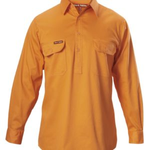 y07530-hard-yakka-foundations-cotton-drill-closed-front-ls-shirt-safety-orange-front