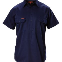 y07540-hard-yakka-foundations-cotton-drill-closed-front-ss-shirt-navy-front