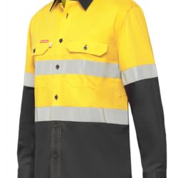 y07740-hard-yakka-koolgear-ventilated-hi-vis-ls-shirt-with-tape-yellow-charcoal-front