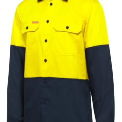 y07950-hard-yakka-2-tone-vented-ls-shirt-yellow-navy-front