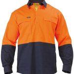 Bisley 2 Tone Closed Front Hi-Vis 190gm Cotton Drill L/S Shirt