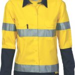 DNC Ladies Hi-Vis Two Tone 190gsm Drill L/S Shirt with 3M R/Tape