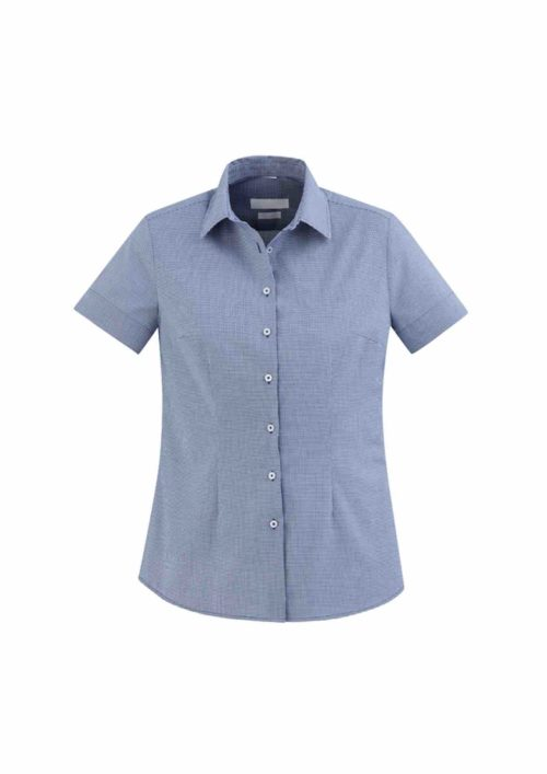 Ladies Jagger Short sleeve Shirt French Blue Front