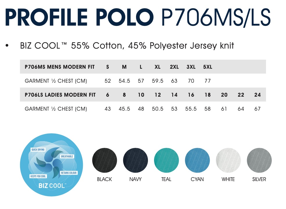 Profile Polo Size and Colours