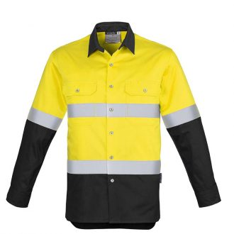 ZW123_Syzmik Hi Vis Spliced Industrial Shirt Hoop Taped_YellowBlack_F