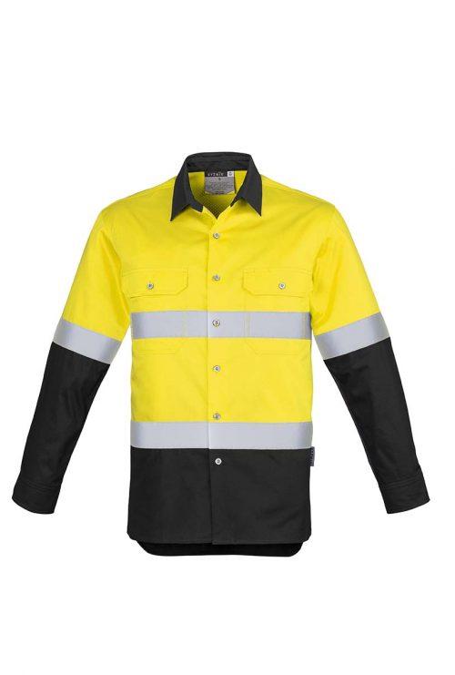 ZW123_Syzmik Hi Vis Spliced Industrial Shirt Hoop Taped_YellowBlack_F
